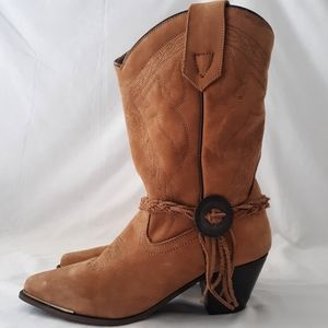 Oak Tree Farms Suede Leather Boots Womens 7 Calf